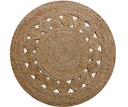 Jute Circle Pattern Plaited Rug